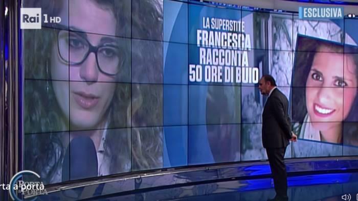 Porta a Porta: Francesca Bronzi riceve l'annuncio della morte di Stefano Feniello