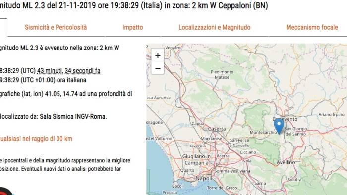scossa di terremoto a ceppaloni preoccupazione tra cittadini