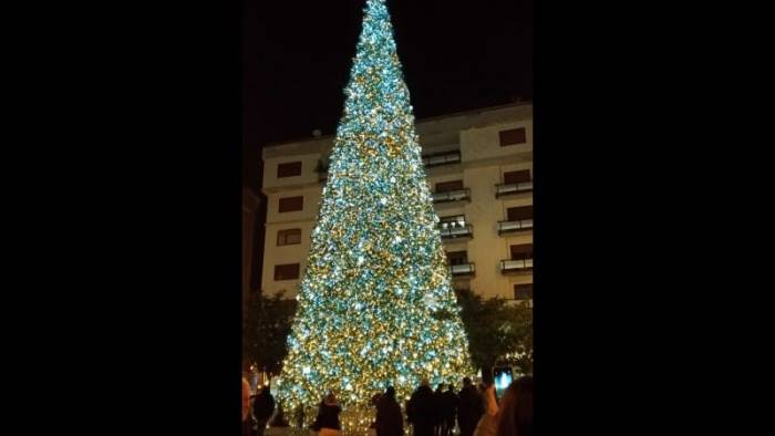foto prove tecniche in piazza portanova s illumina l albero