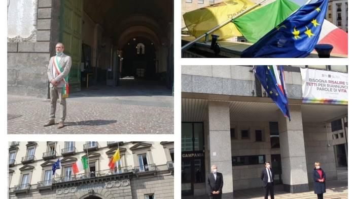 bandiere a mezz asta sui palazzi delle istituzioni