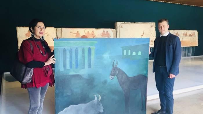 paestum donata al museo una tela di sergio vecchio