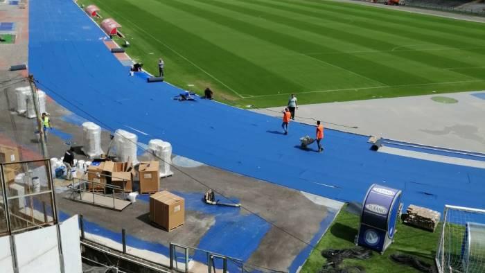 lavori san paolo gia pronte luci e nuova pista d atletica