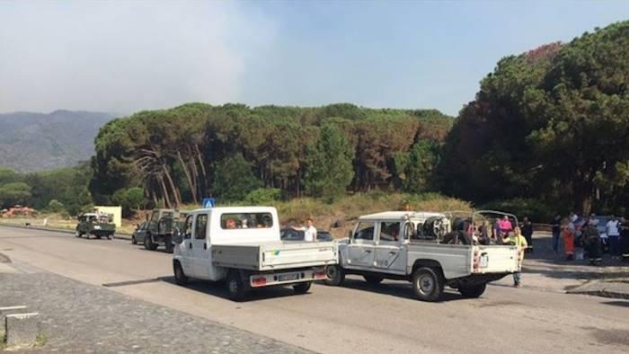 Napoli, vasto incendio nel parco del Vesuvio