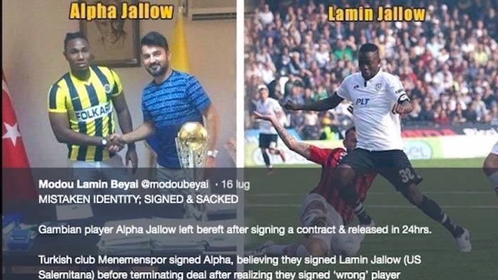 squadra turca crede di aver comprato jallow ma sbaglia persona