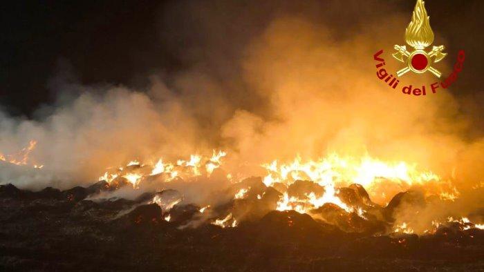 rotoballe di fieno in fiamme al lavoro i vigili del fuoco