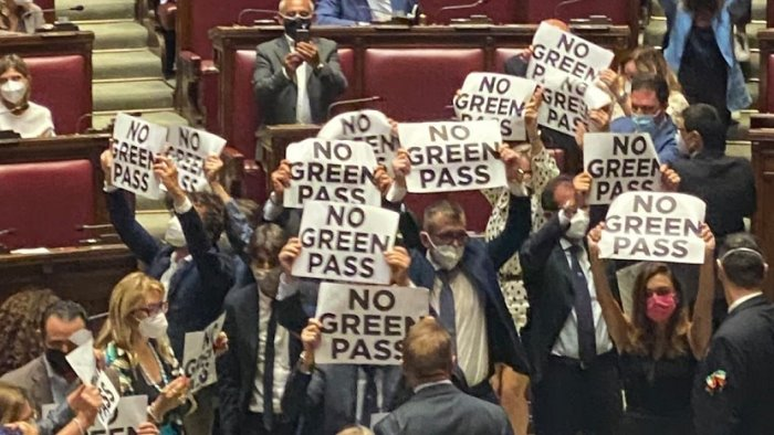 bagarre sul green pass alla camera seduta sospesa dopo protesta fdi