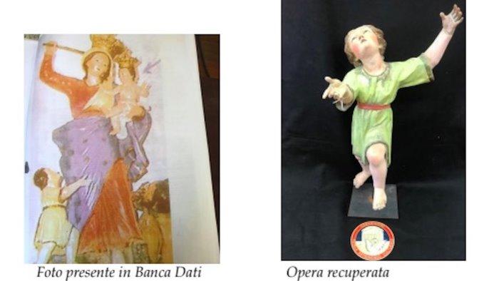 eboli ritrovata la statua del bambinello con saio fu rubata nel 1992