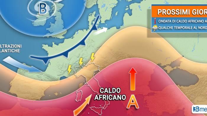 nuova ondata di caldo africano ma in arrivo anche temporali
