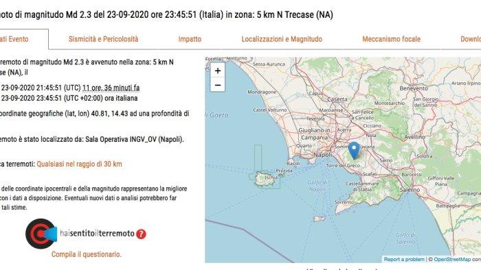 lieve scossa di terremoto in campania